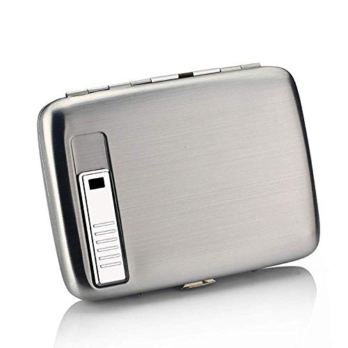 Cigarette Case Aluminum Cigarette Case 2 in 1 Electronic Rechargeable Windproof Metal Cigarette Box 14.5x8.4x1.9cm,Silver