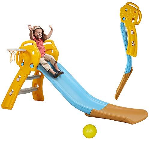 Albott Folding Slide with Basketball Hoop Sturdy Toddler...