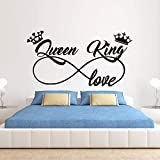 CECILIAPATER Infinity King and Queen Love Crown Wall Decals, King and Queen Decals, Family Lover Wife Husband Couple Mr Mrs Wall Stickers Vinyl Art