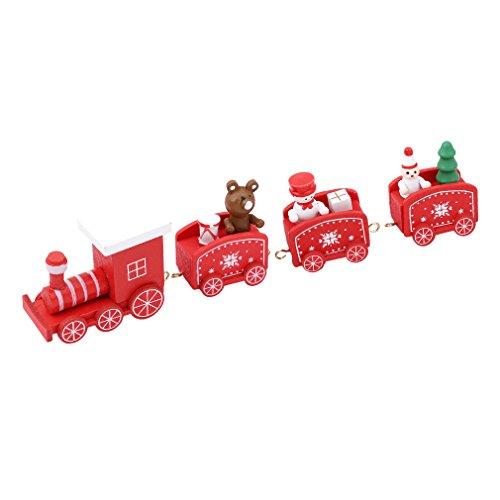 HENGSONG Drôle Petit Train en Bois Enfants Jouets de Noël Creative Cadeaux Décorations de Table de Noël (Rouge)