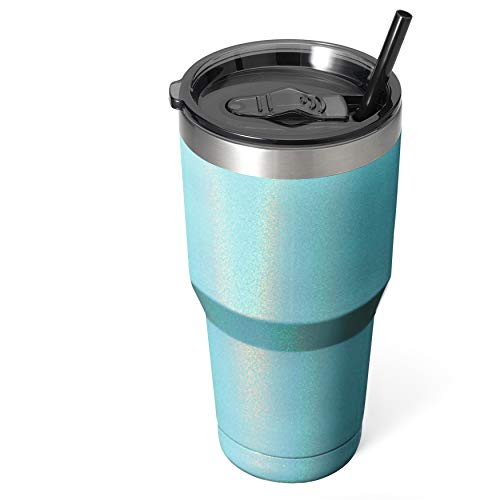 Zibtes 30oz Insulated Tumbler With Lids and Straws, Stainless Steel Double Vacuum Coffee Tumbler Cup, Powder Coated Travel Mug for Home, Office, Travel, Party (Glitter Teal, 1 pack)