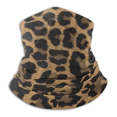 Calentador de Cuello de Microfibra Unisex Piel de Leopardo Amarillo Patrón Animal Pasamontañas Sombreros Bufanda para Polvo Viento Protección Solar