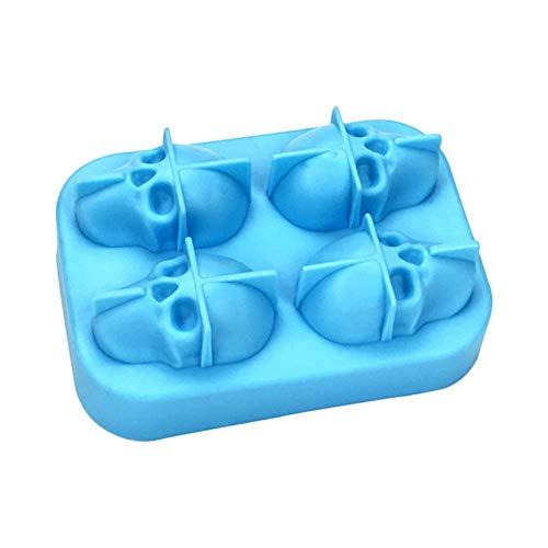 Ice Cube Tray Pudding Mold 3D Skull Silicone Mold 4-Cavity DIY Ice Maker Huishoudelijk Gebruik Cool Whiskey Wijn Keuken Gereedschap 4 Grids Blue