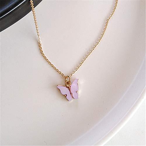 weichuang Bonito collar de mariposa para mujer de color dorado, collar con colgante de cadena de collar de moda, joyería de regalo, collares de cadena de eslabones para mujer (color de metal: púrpura)