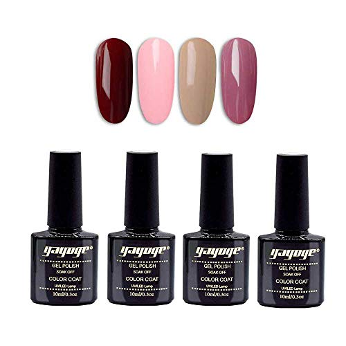 Yayoge Gel Nail Polish Set 4 Pcs 10ml 4 Colors Soak Off UV LED Gel Nail Polish Kit for Nail Art DIY Salon and at Home (Wine Red Barbie Pink)