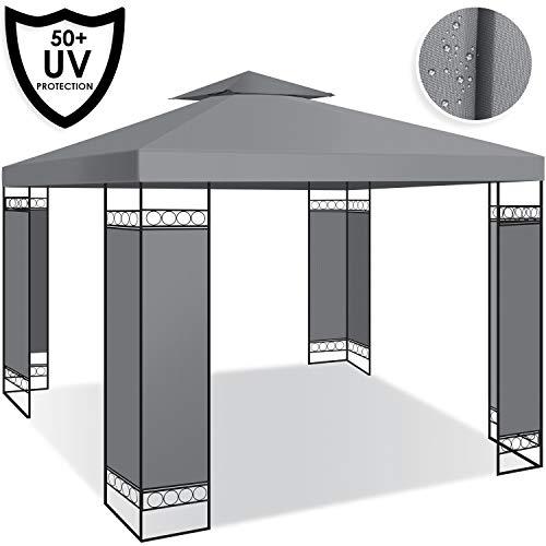 Kesser® - Pavillon 3x3m wasserabweisend UV-Schutz 50+ Metall Gestell Partyzelt Gartenzelt Gartenpavillon 9m² Festzelt, Grau