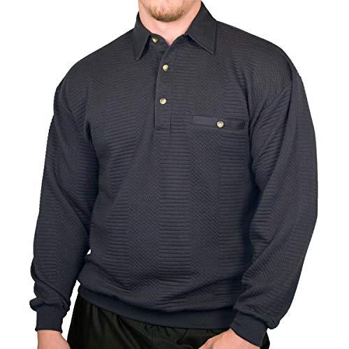 Palmland L/S Solid Textured Banded Bottom Shirt (XXLarge) Navy