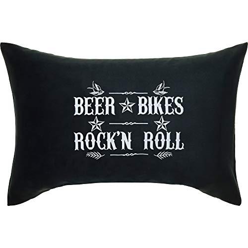 Beer Bikes Rock'n Roll Cojín con funda y frases 40 x 60 cm Biker Rocker Motorad Biertrinker Regalo para hombres Decorativo con relleno Cojín Negro Sofá Cojín Cojín Cojín Grande