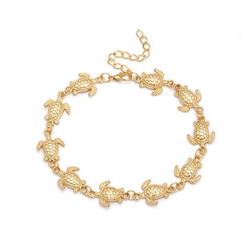 Turtle Chain Anklet Multilayer Star Moon Pearl Beads Sea Anklet Bohemian Pineapple Anklet Bracelet Handmade Boho Leg Chain Lock Anklet Summer Beach Foot Jewelry for Women Girls-Turtle gold