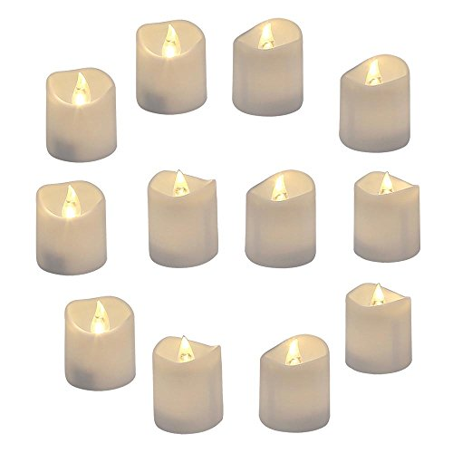 Pack of 12 Realistic and Bright Led Candle Lights in Wave Design, 3.5 cm x 4 cm Tall, Flameless Tea Light Candles, Electric Fake Candle in Bright Warm White and Wave Open by GrassVillage
