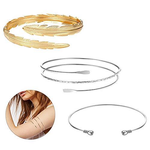 3 Stück Arm Armreif Set, minimalistischen Arm Armbänder, verstellbare Oberarm Manschette Set für Frauen, Armband Ornament (Drei Stile)