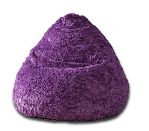 Lumaland Luxury Fluffy Sitzsack stylischer Webplüsch Beanbag 120L Füllung verschiedene Farben Lila