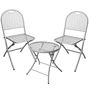 idooka Grey 3 Piece Modern Patio Set Folding