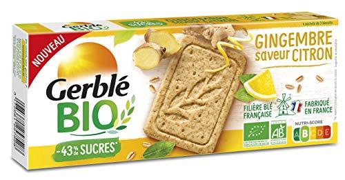 Gerblé Bio, Sablés bio saveurs citron et gingembre, Allégés en sucres, Sans huile de palme, 1 Paquet de 12 Biscuits, 132g, 216083