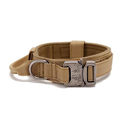Collar de perro ajustable táctico con asa, collar suave para perros anchos, collar militar de doble cuello de metal, para perros grandes, medianos y pequeños
