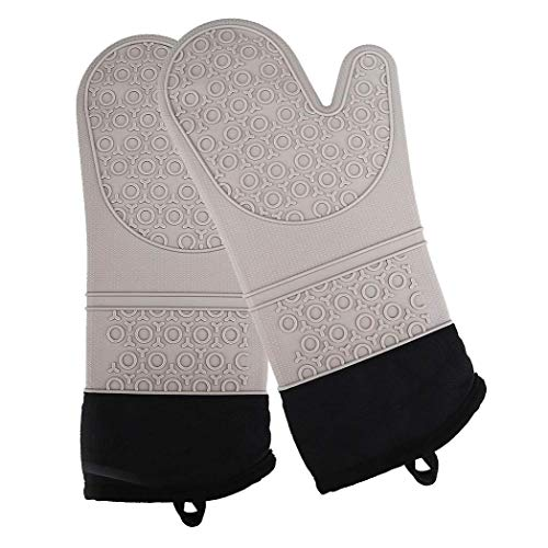 Extra Long Heat Resistant Silicone Oven Mitts  Quilted Liner for Added Comfort  Pot Holders in Soft Color Palettes  Gray  Set of 2  Kitchen Items to Protect Hands from Burns