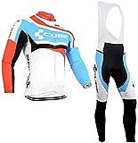 Completo Tuta Ciclismo Uomo Autunno, Maniche Lunghe Maglia Ciclismo + Pantaloni Lunghi MTB/Bici con Bretelle y 5D Cuscini Imbottiti (M, Cube-CBU)