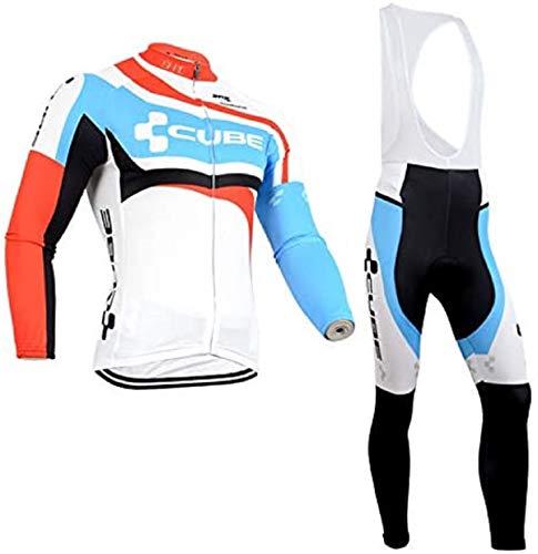 Completo Tuta Ciclismo Uomo Autunno, Maniche Lunghe Maglia Ciclismo + Pantaloni Lunghi MTB/Bici con Bretelle y 5D Cuscini Imbottiti (L, Cube-CBU)