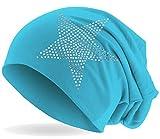 Hatstar Strass Stern Damen Beanie Mütze   elastisches Slouch Long Beanie   Mädchen Mütze   mit edler Strass Applikation   leicht und weich (hellblau)