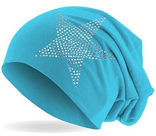 Hatstar Klassische Strass Stern Steine Jersey Slouch Long Beanie Mütze, leicht und weich für Damen und Mädchen (hellblau)