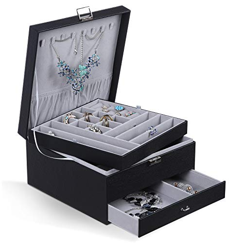 misaya 3Layer Jewelry Box with Drawer Women Large Lockable Jewelry Organizer for Earrings Rings Necklaces Sunglasses Black