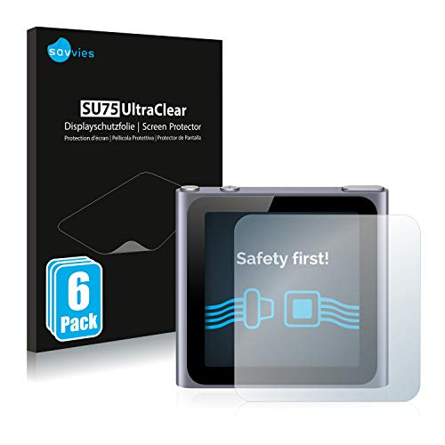 Savvies 6X Schutzfolie kompatibel mit Apple iPod Nano 2011 (6. Generation) Displayschutz-Folie Ultra-transparent