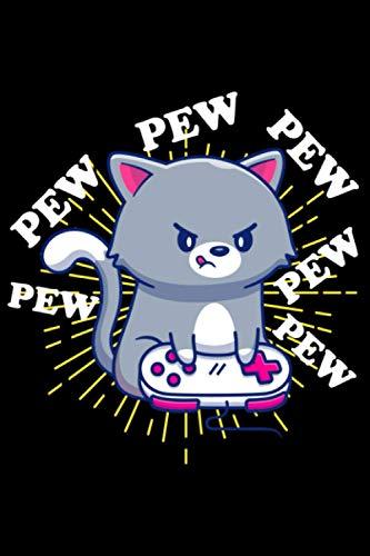 Pew Pew Pew Katze Zocker Headset Katzen Cat Zocken: DIN A5 Kariert 120 Seiten / 60 Blätter Notizbuch Notizheft Notiz-Block Videospiele Motive & Geschenkidee für Gamer