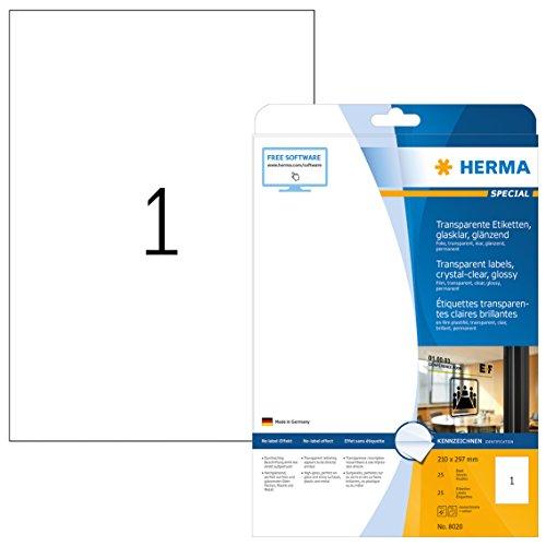 HERMA 8020 Wetterfeste Folien-Etiketten DIN A4 transparent (210 x 297 mm, 25 Blatt, Polyesterfolie, glänzend) selbstklebend, bedruckbar, permanent haftende Klebefolie, 25 Klebeetiketten, durchsichtig