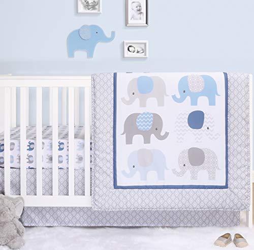 The Peanutshell Elephant Crib Bedding Set for Baby Boys | 3 Piece Nursery Set | Crib Comforter, Fitted Crib Sheet, Crib Skirt Included