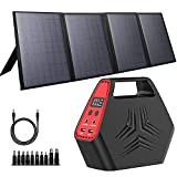 100W Portable Solar Generator, 40W Foldable Solar Charger with USB & 12-15V DC output, A Super Travel Portable Battery Pack / Power Station for HP, Notebooks, Mac Book, Laptops, Cell Phones