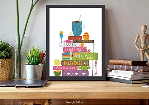 №02119 Modern Wall Decor,Framed Wall Art,Tea, Pastel Books About Magic Fairy Tales Butterflies with Pastries Girls Inspiration, Multicolor, Best for Gifts