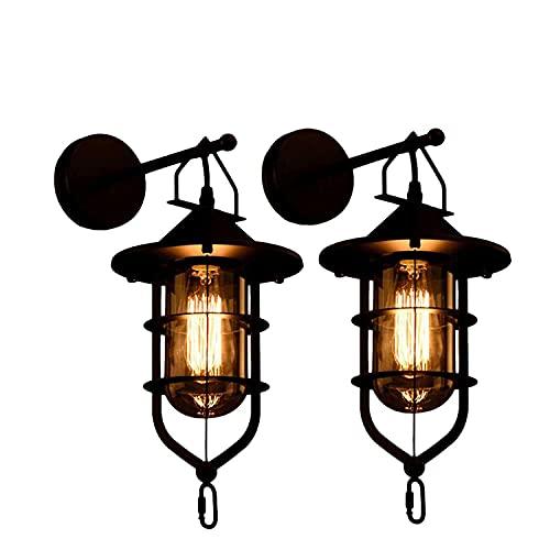 CZYNB 2 Piezas Retro Industrial lámpara de Pared Personalidad Creativa Restaurante Bar Interior Linterna Colgante lámpara decoración de Hierro Arte nostálgico Decorativo lámpara de Pared