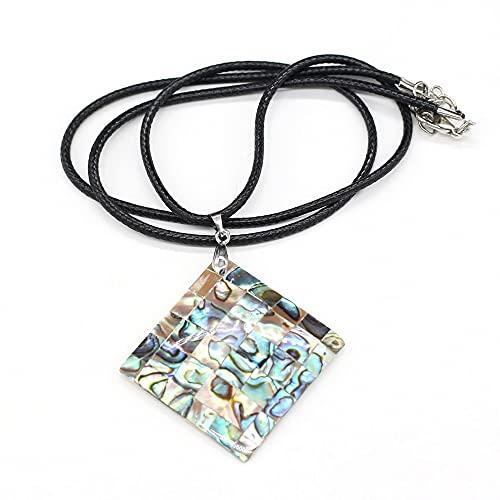 SWAOOS Nouvelle-zélande Naturel coloré ormeau Coquille Pendentif Collier Forme carrée océan Style Colliers Femmes Mode Bijoux Cadeau