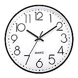 ufengke Reloj de Pared Numeros 3D Negro Simple Reloj Quartz Silencioso Moderno Pare Salon Comedor Dormitorio, Diámetro 30cm