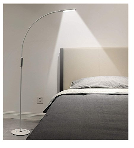 IMIGY Dimmable 9W Floor Lamp, Office/Work/Living Room Reading Flexible Gooseneck Light with Touch and Remote Control, 5-Level Brightness and Color Temperature Dimmable Eye-Care Technology Light, White