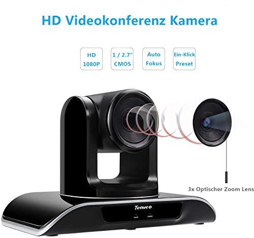 Tenveo VHD3U | Konferenzkamera 3X Optischer Zoom 1080p Full-HD, Weitwinkel USB PTZ Webcam mit Fernbedienung, für YouTube/Twitch/OBS Live Streaming, Skype/Zoom Videokonferenzen