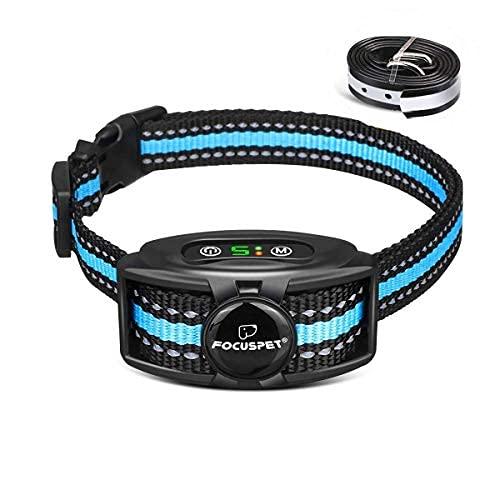 Focuspet Collar Antiladridos para Perros,Collar para Perro Inofensivo y Automático con 2 Modos y 5 Sensibilidad,Batería Recargable e IPX7 Impermeable