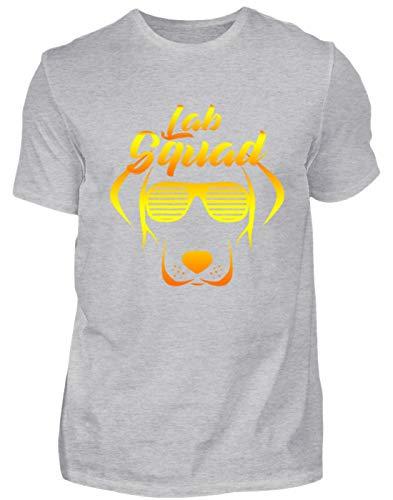 SPIRITSHIRTSHOP Lab Squad - Camiseta para Hombre, diseño de Labrador con Gafas de Sol, Color Amarillo Gris (Mezclado). L