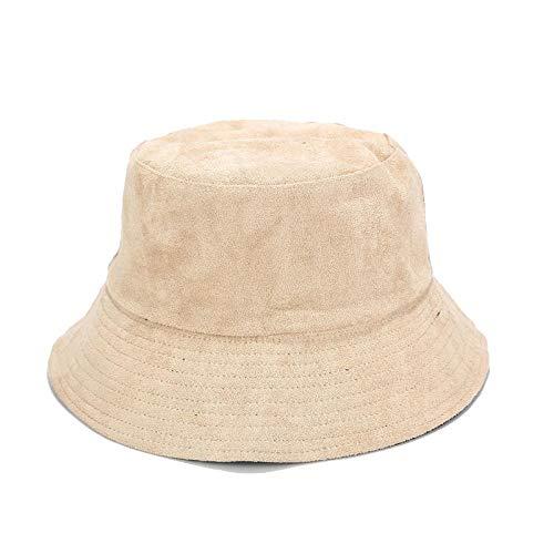 Bucket Hat Chapeau Chapeaux De Seau À Larges Bords en Daim Chapeau De Port Double Face Hommes Femmes Couleur Unie Unisexe Chapeaux De Soleil en Plein Air 56-58 Cm Beige