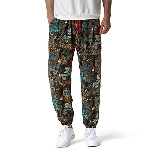 Mens Cotton 3D Printed Tracksuit Bottoms Elasticated Waist Hippie Bloomers...