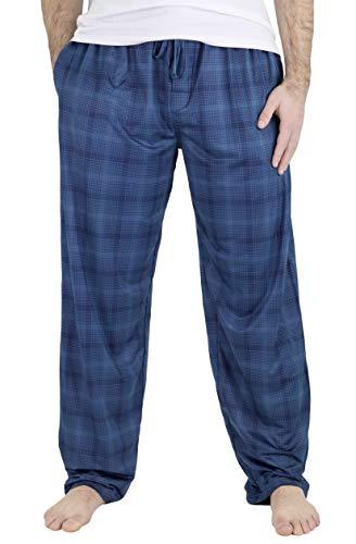 IZOD Men's Performance Soft Touch Pajama Sleep Pant, Large, Blue Plaid