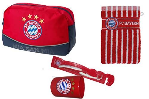 FC Bayern München Set (Kulturbeutel + Waschhandschuh + Zahnbürste+ Zahnputzbecher)