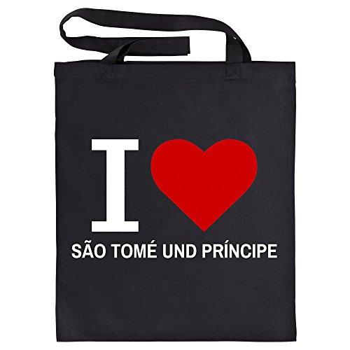 Katoenen tas Classic I Love São Tomé en Príncipe zwart - grappig spreuken party boodschappentas