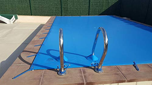 INTERNATIONAL COVER POOL Cubierta de Invierno para Piscina 8 x 4m más 15 cm por Cada Lado para Anclaje (8,3 x 4,3m) de Color Azul (Exterior) / Negro (Interior) + Saco de Almacenaje de Regalo