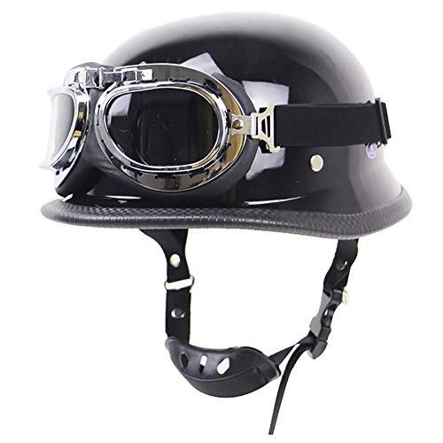 ACEMIC Casco de motocicleta estilo retro con gafas, medio casco de motocicleta certificado DOT para hombres y mujeres motocicleta crucero scooter viaje B, S = 55 ~ 56 cm