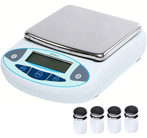U.S. Solid Digital Analytical Balance Electronic Precision Lab Scale 0.01 g LCD (5000g), w/ 4 x 500g Calibration Weight