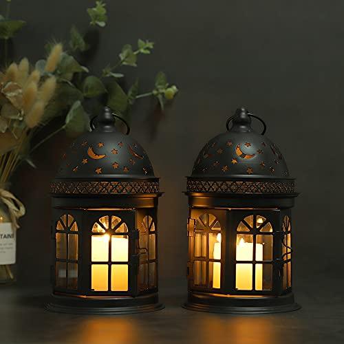 JHY DESIGN Juego de 2 linternas Decorativas Linterna Colgante de Estilo Vintage de 21 cm de Alto, candelabro de Metal para Eventos al Aire Libre en Interiores paridades y Bodas (Negro)