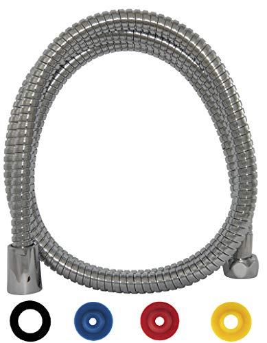 SANTRAS® Metall Duschschlauch PREMIUM 1,25 m lang mit Wassersparer in Chrom– Besonders flexibeler Brauseschlauch mit DURCHFLUSSBEGRENZER in Edelstahloptik