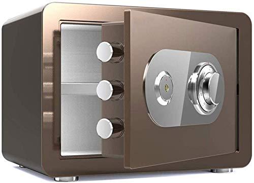 DBSCD Tresore für Zuhause Feuerfeste Mechanische Passwort Tastensperre Spardose 38X30X30 cm Versicherung Box Sicherheit Safebox (Kaffee Gold)