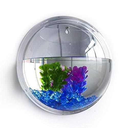 Fish Tank Acryl-Fisch-Schüssel Wandbehang Aquariumbehälter Aquatic Tierbedarf Haustiere Artikel Wandmontage Topfpflanze Vase Mounted Home Decoration Aquarium (Color : Clear, Size : 22.5cm)